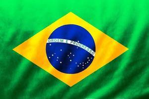 Brasilien flagg tyg siden våg textur bakgrund, 3d illustration. foto