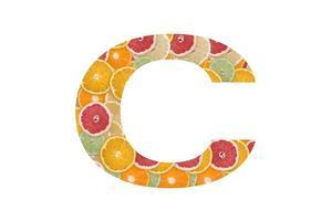 c -vitamin skrivet från citrus foto