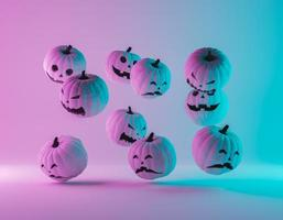 halloweenpumpor med gradient neonbelysning foto