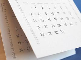 kalender sida detalj foto