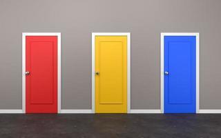 tre stängda dörrar i rummet foto