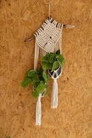 vävd dekoration för att hänga växter på väggen foto