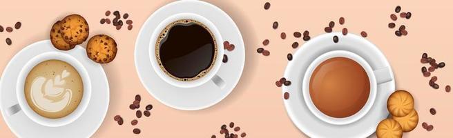 kaffe bakgrund med realistisk kopp kaffe foto