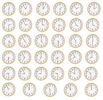 många runda klockor visar olika tid foto