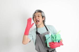 senior asiatisk hushållerska foto