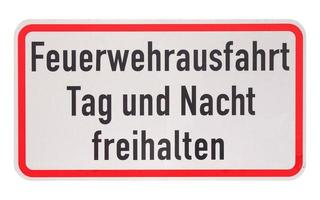 tyskt tecken isolerat över vitt. brandkåren avsluta, behåll clea foto