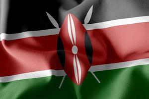 3D -rendering illustration flagga i Kenya. foto