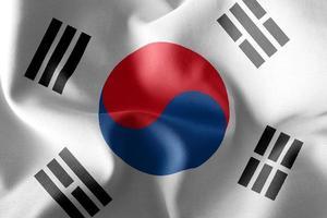 3D -rendering illustration flagga i Sydkorea. foto