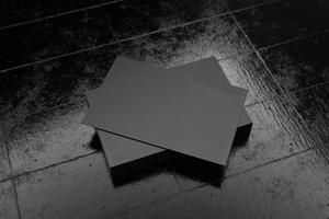 svart horisontellt visitkort papper mockup mall foto