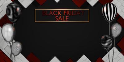 svart fredag banner butik försäljning med gåvor och ballonger foto