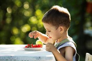 liten pojke som äter röda vinbär foto