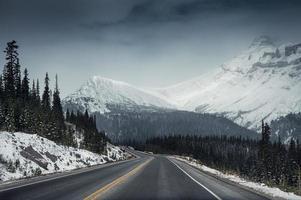 natursköna motorvägsresa med snöberge i dyster på icefields parkway foto