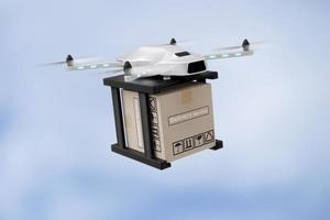 drönare teknik ingenjörsindustri som flyger i industriell logistisk exportimport produkt hemleverans service logistik frakt transport transport eller bildelar 3D -rendering foto