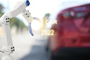 mekanisk inspektionsmotor med handrobot ai -maskin. blå bil för serviceunderhållsförsäkring med bilmotor. för transportbil automotive ai. foto