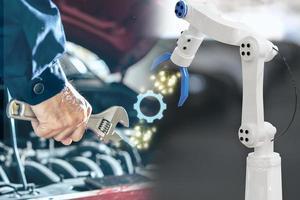 man mekaniker inspektionsmotor med handrobot ai -maskin. blå bil för serviceunderhållsförsäkring med bilmotor. för transportbil automotive ai. foto