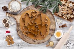 jul, nyår matlagning bakgrund. bakning ingredienser och redskap. foto