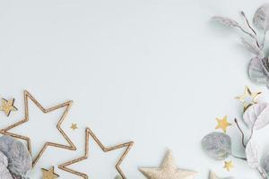 jul dekor bakgrund. platt låg, ovanifrån. foto