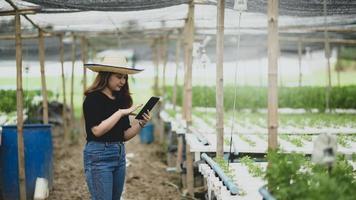 en tonårsflicka bonde använder en tablettapp för att styra grönsaksodling i växthus, smart gård. foto