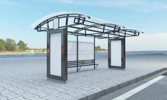 busshållplats buss skydd mockup 3d illustration foto