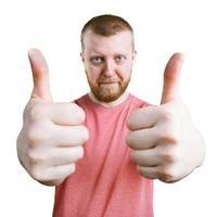 mannen visar sina händer, att allt är bra foto