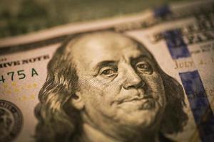 benjamin franklin på usa dollar - usd foto
