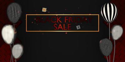svart fredag banner butik försäljning med gåvor och ballonger 3d illustration foto