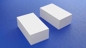 vit visitkort mockup stapling på blått golv. kontorsmaterial objekt bakgrund koncept för varumärke presentation mall tryck. 3,5 x 2 tum pappersstorlek tomt omslag. 3D illustration rendering foto