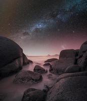 rosa himmel med stjärnor foto