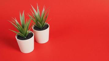konstgjorda kaktusväxter eller plast eller falska träd på röd bakgrund. foto