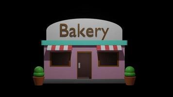 3D -rendering bageri butik perfekt för scen bakgrund foto