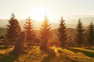 vackert höstsoluppgånglandskap i karpaterna, Europa resor, västra Ukraina, karpaterna, underbar värld, tapet landskap bakgrund foto