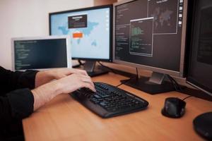den unga farliga hackaren bryter ner regeringstjänster genom att ladda ner känslig data och aktivera virus. en man använder en bärbar dator med många bildskärmar foto