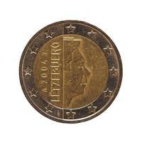 2 euro mynt, Europeiska unionen isolerad över vitt foto