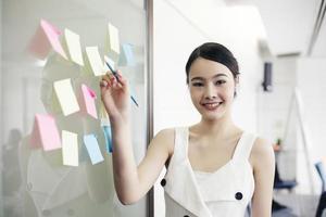 asiatiska affärskvinnor leende och arbetar tillsammans på väggglas med post it -klistermärken. modernt startkontor foto