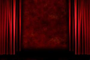 röda gammaldags grungiga scendraperier foto