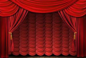 gammaldags, eleganta röda teaterscene draperier foto