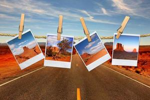semesterresekoncept med polaroidfilmbilder av monument valley arizona foto