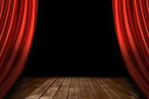 röda teaterscen draperier med trägolv foto