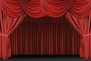 gammaldags, elegant teaterscen med sammetgardiner. foto