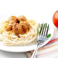 spagetti och köttbullar foto