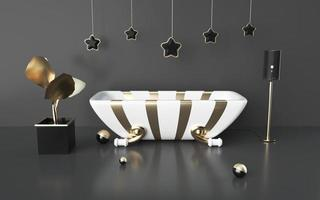 3D -rendering av svart abstrakt bakgrund med presentask foto