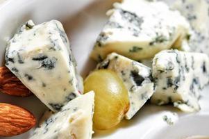 osttallrik med ostar dorblu, parmesan, brie, camembert, roquefort och druva i servering på den vita tallriken foto