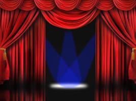 röd teaterscen med blå spotlights foto