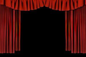 röda horozontala draperade teatergardiner foto
