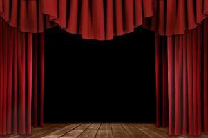 teaterdraperier med trägolv foto