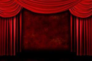 bakgrund av röda scen teater draperier foto
