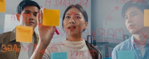 asiatiska affärsmän står bakom transparent glasvägg lyssnar chef pekar på framstegsarbete och brainstorm möte och arbetare post lappar på kontoret. panoramabannerbakgrund med kopieringsutrymme. foto