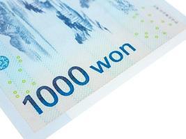 Sydkorea 1000 vann sedelvaluta närbildsmakro, koreanska pengar foto