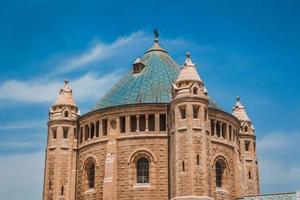 den övre delen av klostret för sovsalens byggnad vid berget zion i Jerusalem foto