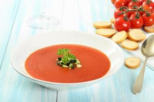tomatsoppa grädde foto